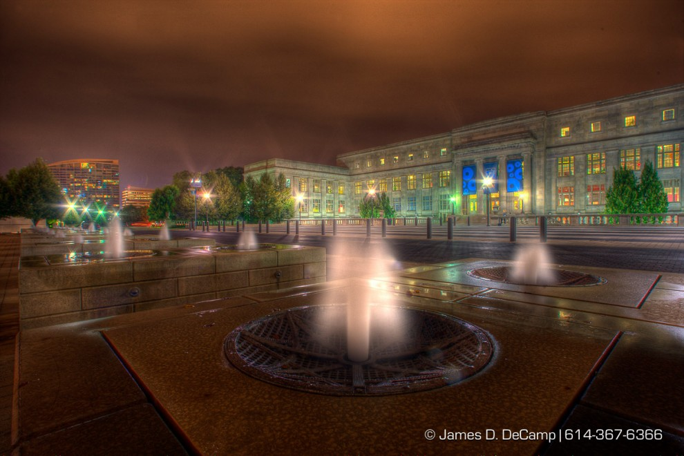 The east side of COSI photographed Tuesday night September 30, 2008 from the COSI peninsula.  This image is a composite of 9 individual images with bracketed exposures, 4 stops under to 4 stops over exposed, combined and tone mapped with Photomatix Pro as a 16 bit tif, then converted to 8 Bit in Photoshop and saved as a jpg. Dust and lens refraction