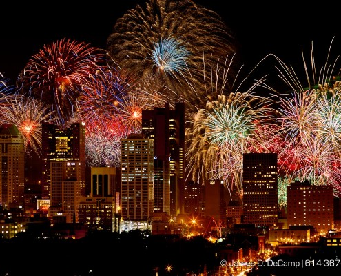 The 2012 Red, White & Boom fireworks display photographed from on top of the Ohio State University East Hospital Heliport July 3, 2012.   (© James D. DeCamp | http://www.JamesDeCamp.com | 614-367-6366)