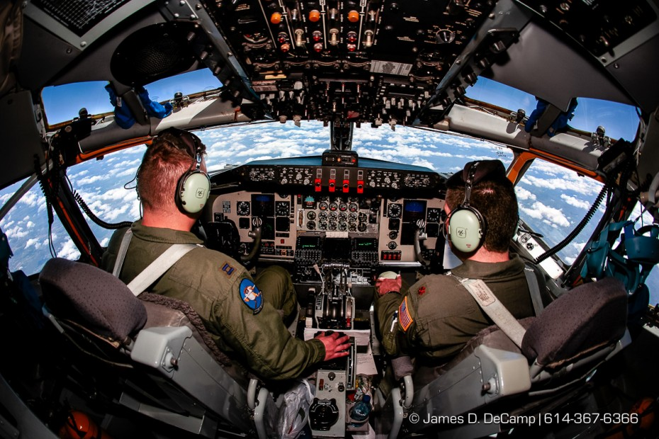 Cpt. James Bigelow, left, and Major Darrell Scott, right, at the controls of their KC-135R over the skies of Alabama during an Employer Support of Guard and Reserve (ESGR) familiarization mission of the 121st Air Refueling Wing (ARW) of the Ohio National Guard Thursday morning April 19, 2007 at Rickenbacker Air National Guard Base (RANGB).  The KC-135R air refueling flight took off from RANGB and flew along the Smokey Mountains, refueling an Air Force C-17 cargo plane flying out of Charleston for training of both the Cargo plane crew and that of the air refuelers.  (© James D. DeCamp | http://www.JamesDeCamp.com | 614-367-6366)