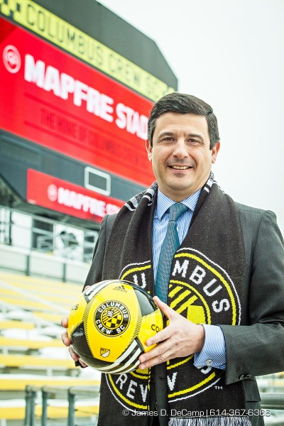 "A press conference to announce that the Columbus Crew SC reached a deal with insurer Mapfre U.S.A. Corp. for the 19,968-seat Crew Stadium to become Mapfre Stadium, team and company executives announced Tuesday March 3, 2015 in Columbus, Ohio. Terms were not disclosed. Establishing a sponsor for the stadium, opened in 1999 off Interstate 71 in Columbus as the country's first soccer-specific venue, long proved an elusive goal for Crew SC leadership seeking financial stability. ""This agreement is a culmination of the thorough, thoughtful planning and hard work that we promised Columbus and our fans from the first day Precourt Sports Ventures purchased the team 19 months ago,"" Crew Chairman Anthony Precourt said in a press release. ""Dynamic business partnerships like this are part of our strategy to be a winning organization. We expect Mapfre Stadium to become an even greater place for our growing fan base to cheer on Columbus' original major league franchise for years to come."" The deal comes less than two years after Precourt purchased the team for a reported $68 million from the founding owners Hunt Sports Group. (Photo by James D. DeCamp)"