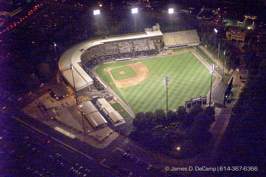 The Columbus Clipper play Rochester at the Cooper Stadium as seen from the air looking north west. Aerial photo August 15, 1999. (© James D. DeCamp | http://www.JamesDeCamp.com | 614-367-6366) [Photographed with Canon EOS D2000 cameras in RAW mode with L series lenses.]