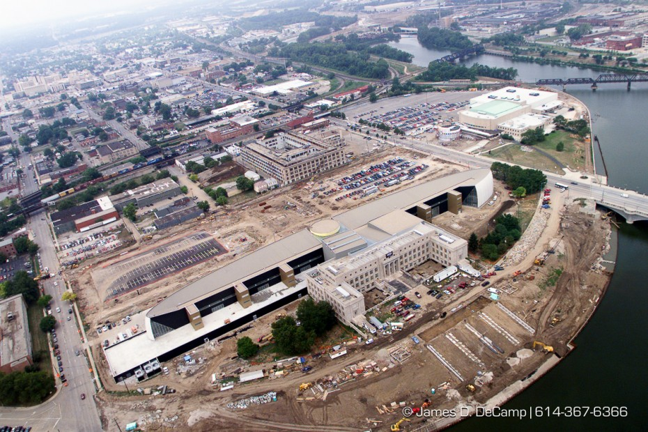 Aerial photo of the Center of Science and Industry (COSI) under construction in Columbus photographed August 15, 1999. (© James D. DeCamp | http://www.JamesDeCamp.com | 614-367-6366) [Photographed with Canon EOS D2000 cameras in RAW mode with L series lenses.]