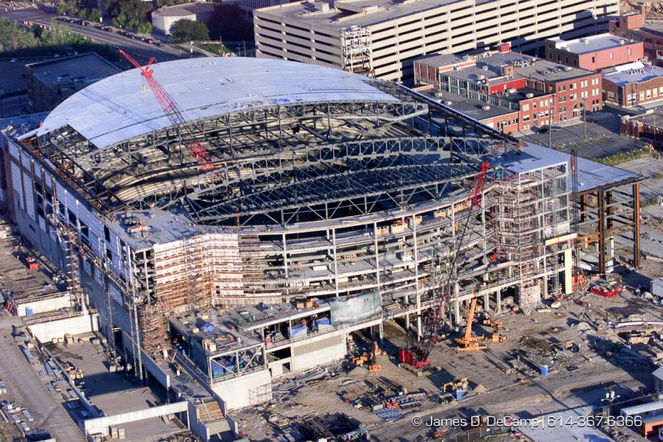 The Nationwide Arena, under construction, as seen from the air looking east. (© James D. DeCamp | http://www.JamesDeCamp.com | 614-367-6366) [Photographed with Canon EOS D2000 cameras in RAW mode with L series lenses.]
