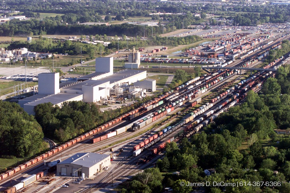 Aerial view of the south Columbus train yard. (© James D. DeCamp | http://www.JamesDeCamp.com | 614-367-6366) [Photographed with Canon EOS D2000 cameras in RAW mode with L series lenses.]
