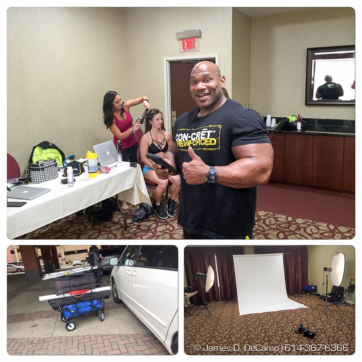 Behind the scenes of a shoot with Promera Sports photographed Thursday March 3, 2016 at the Arnold Classic Sports Festival. Bodybuilders Fred 'Biggie Smalls & Tiffany Cogan. iPhone photos, please excuse the quality :-) (© James D. DeCamp | http://www.JamesDeCamp.com | 614-367-6366) #JDeCampPhoto #promera #ArnoldSportsFestival #concret #FredBiggieSmalls #ArnoldClassic #Schwarzenegger #tiffanycogan