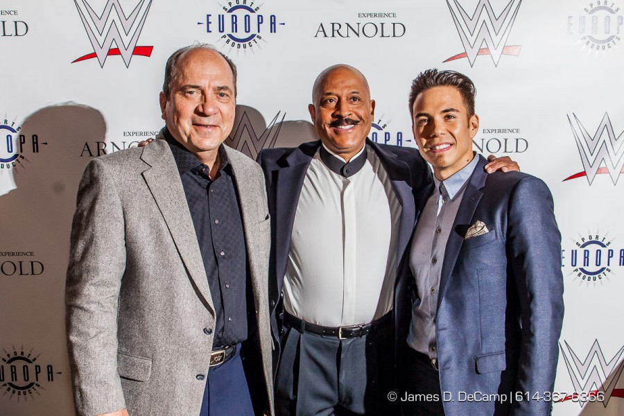 Johhny Bench, Apolo Ohno & Fairfax 'Hack' Hackley at the 2016 After-School All-Stars Ohio Arnold Experience photographed Friday March 4, 2016 at Dock 580 with Arnold Schwarzenegger. (© James D. DeCamp | http://www.JamesDeCamp.com & http://www.BlueSkiesHD.com | 614-367-6366) * Full gallery of images at: http://bit.ly/1TGXA6J * #Schwarzenegger #ASF2016 #JDeCampPhoto #BlueShiesHD #ArnoldSportsFestival #ArnoldClassic #Dock580 #ASASOhio #MayorGinther #Kasich #614 #AsSeenInColumbus #ApoloOhno #BraunStrowman #WWETheBigShow #iheartmindy #xcnatch #johnnybench #fairfaxhackley