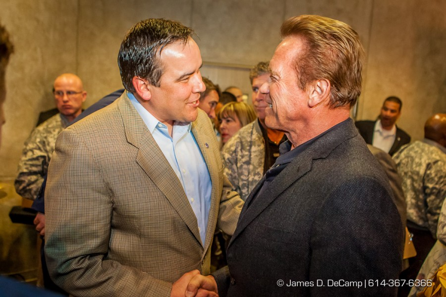 Columbus Mayor Andrew Ginther and Arnold Schwarzenegger at the 2016 After-School All-Stars Ohio Arnold Experience photographed Friday March 4, 2016 at Dock 580 with Arnold Schwarzenegger. (© James D. DeCamp | http://www.JamesDeCamp.com & http://www.BlueSkiesHD.com | 614-367-6366) #Schwarzenegger #ASF2016 #JDeCampPhoto #BlueShiesHD #ArnoldSportsFestival #ArnoldClassic #Dock580 #ASASOhio #MayorGinther #Kasich #614 #AsSeenInColumbus #ApoloOhno