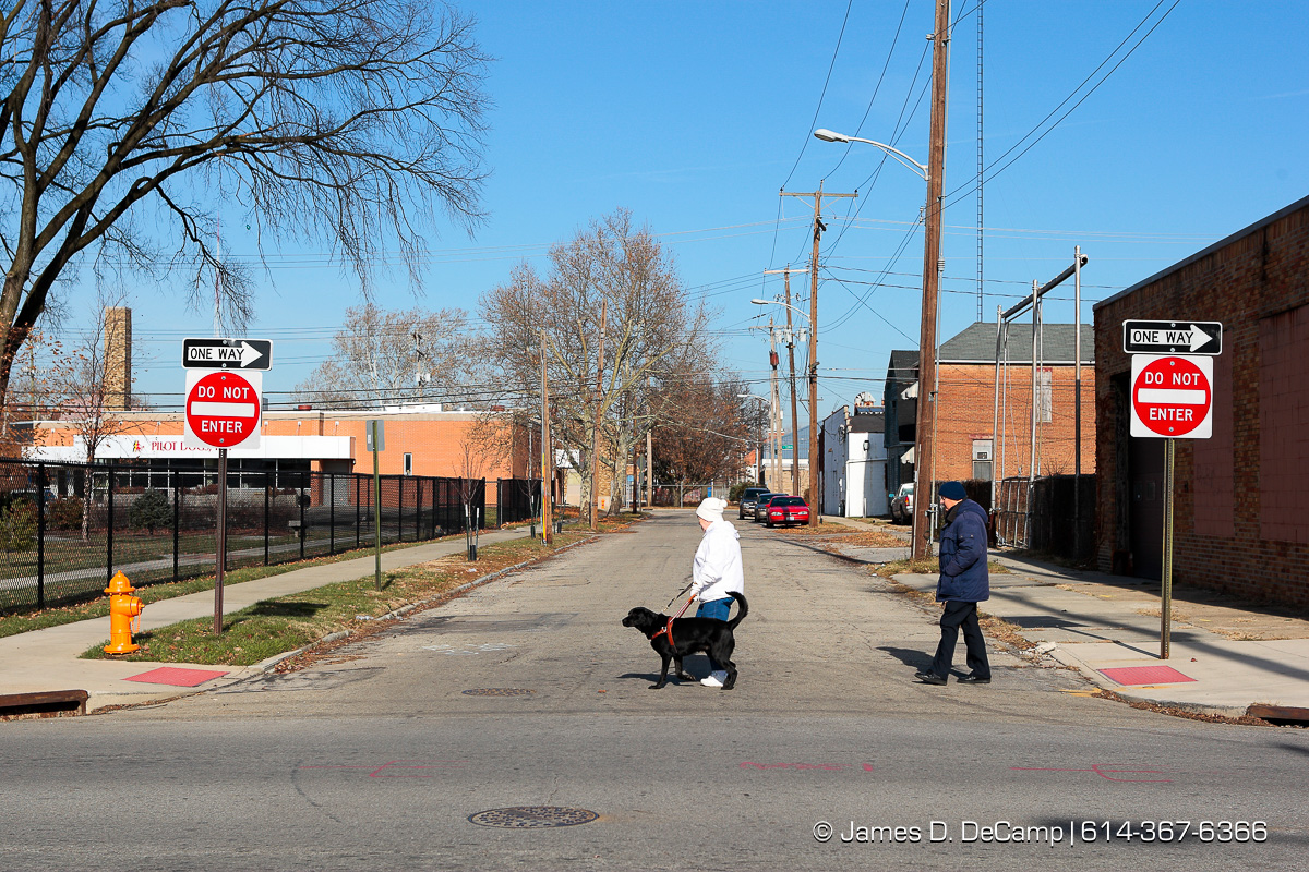 Elaine Brittain and Dee Dee cross a bottoms street near Pilot Dogs, Inc. during their walk Wednesday morning December 3, 2008. On the right is trainer Wayne Mathys. (© James D. DeCamp | http://www.JamesDeCamp.com | 614-367-6366) [Photographed with Canon 1D MkIII cameras in RAW mode with L series lenses]