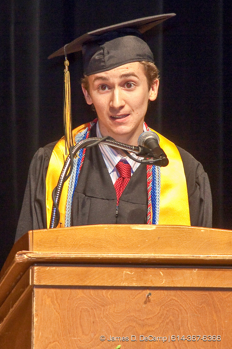 Austen Smith gives the Cum Laude Address at the Upper Arlington High School Graduation Ceremony held Sunday afternoon June 6, 2010 at the Veterans Memorial Auditorium in Downtown Columbus. (© James D. DeCamp | http://JamesDeCamp.com | 614-367-6366)