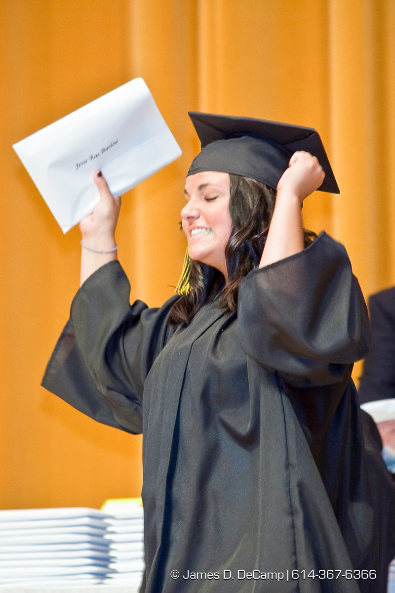 Jesse Rae Barlow celebrates getting her diploma at the Upper Arlington High School Graduation Ceremony held Sunday afternoon June 6, 2010 at the Veterans Memorial Auditorium in Downtown Columbus. (© James D. DeCamp | http://JamesDeCamp.com | 614-367-6366)