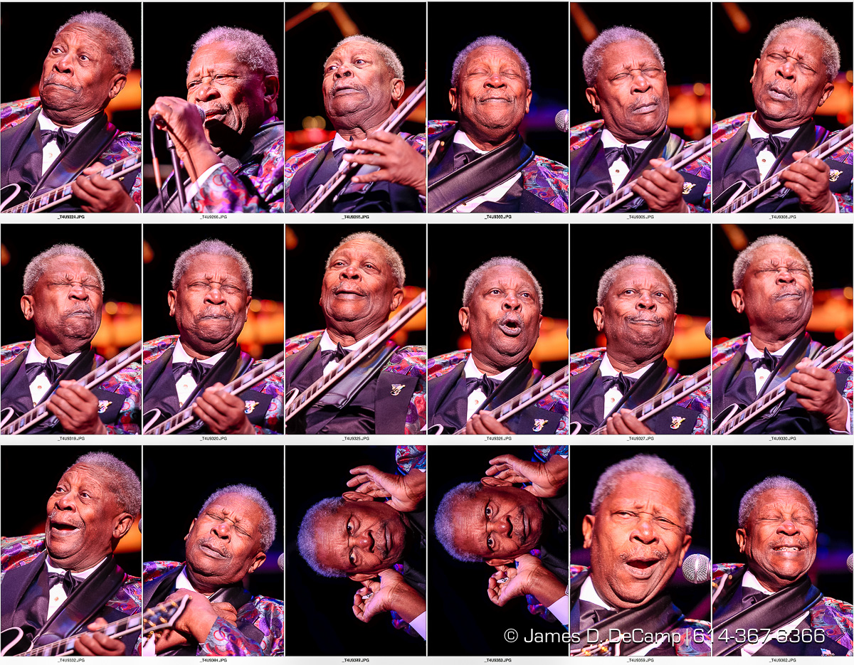 "The many faces of the most expressive musician in the business: Mr. B.B. King captured as he plays at the Palace Theatre late Monday night January 23, 2006. B.B. King (born Riley B. King; September 16, 1925) is an American blues musician, singer, songwriter, and guitarist. Rolling Stone magazine ranked him at No. 6 on its 2011 list of the 100 greatest guitarists of all time (previously ranked No. 3 in the 2003 edition of the same list), and he was ranked No. 17 in Gibson's ""Top 50 Guitarists of All Time"". According to Edward M. Komara, King ""introduced a sophisticated style of soloing based on fluid string bending and shimmering vibrato that would influence virtually every electric blues guitarist that followed."" King was inducted into the Rock and Roll Hall of Fame in 1987. King was also inducted into 2014 class of the R&B Music Hall of Fame. He is considered one of the most influential blues musicians of all time, earning the nickname ""The King of Blues"", and one of the ""Three Kings of the Blues Guitar"" (along with Albert King and Freddie King). King is also known for performing tirelessly throughout his musical career, appearing at 250-300 concerts per year until his seventies. In 1956 it was noted that he appeared at 342 shows. King continues to appear at 100 shows a year. Over the years, King has developed one of the world's most identifiable guitar styles. He borrowed from Blind Lemon Jefferson, T-Bone Walker and others, integrating his precise and complex vocal-like string bends and his left hand vibrato, both of which have become indispensable components of rock guitarists' vocabulary. His economy and phrasing has been a model for thousands of players. King has mixed blues, jazz, swing, mainstream pop and jump into a unique sound. In King's words, ""When I sing, I play in my mind; the minute I stop singing orally, I start to sing by playing Lucille."" (© James D. DeCamp 