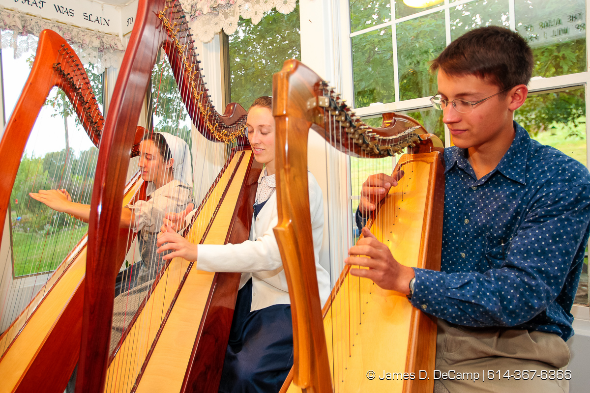 left to right - Daisy, 21, Darlene, 22, and Joshua, 18, Hostetler play Amazing Grace on their homemade harps photographed Wednesday evening October 1, 2008 at the Hostetler's home north of Coshocton. (© James D. DeCamp | http://www.JamesDeCamp.com | 614-367-6366) [Photographed with Canon 1D MkIII cameras in RAW mode with L series lenses]