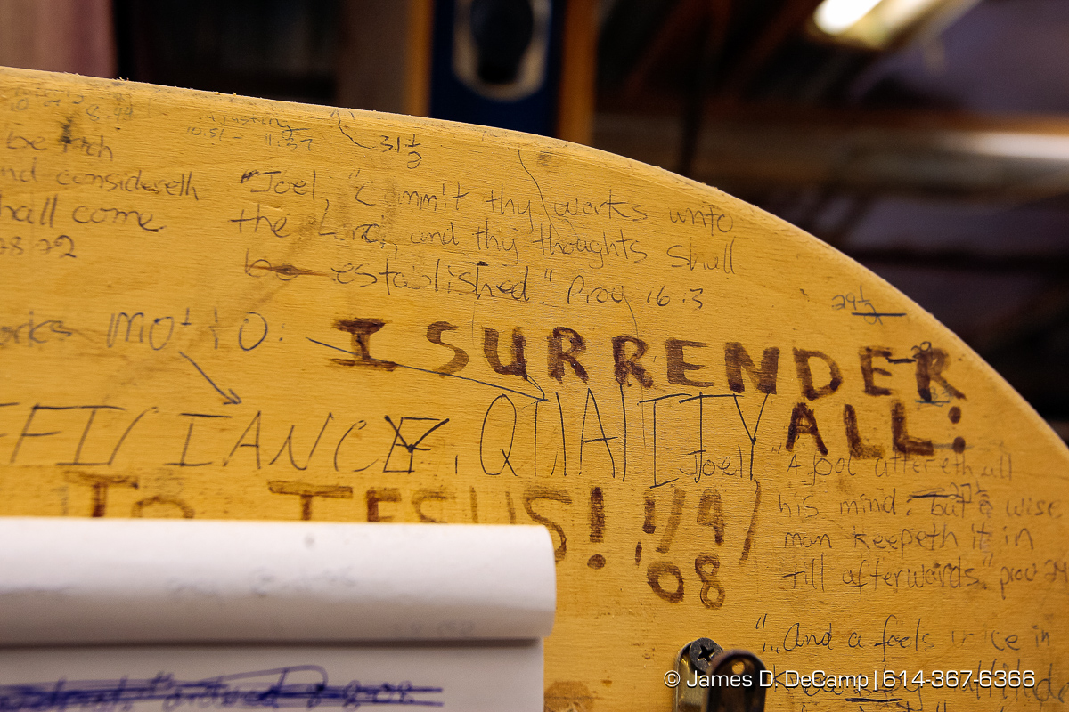 Detail of some of the writing on the Hosteler's homemade bandsaw photographed Wednesday evening October 1, 2008 at the Hostetler's workshop north of Coshocton. (© James D. DeCamp | http://www.JamesDeCamp.com | 614-367-6366) [Photographed with Canon 1D MkIII cameras in RAW mode with L series lenses]