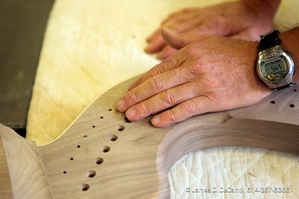 The hands of Reuben Hosteler on a Harp in progress photographed Wednesday evening October 1, 2008 at the Hostetler's workshop north of Coshocton. (© James D. DeCamp | http://www.JamesDeCamp.com | 614-367-6366) [Photographed with Canon 1D MkIII cameras in RAW mode with L series lenses]