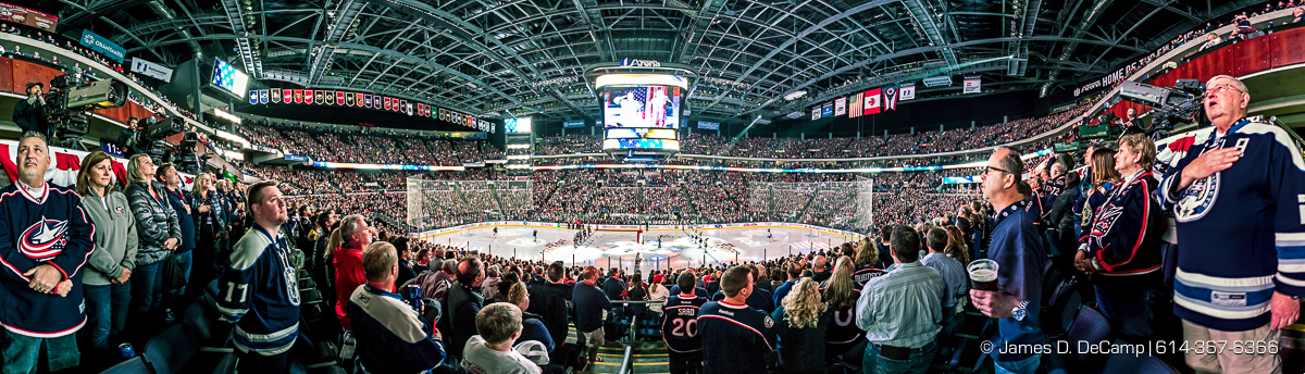 The Columbus Blue Jackets Opening night photographed Thursday, October 13, 2016 at Nationwide Arena. (© James D. DeCamp | http://JamesDeCamp.com | 614-367-6366)