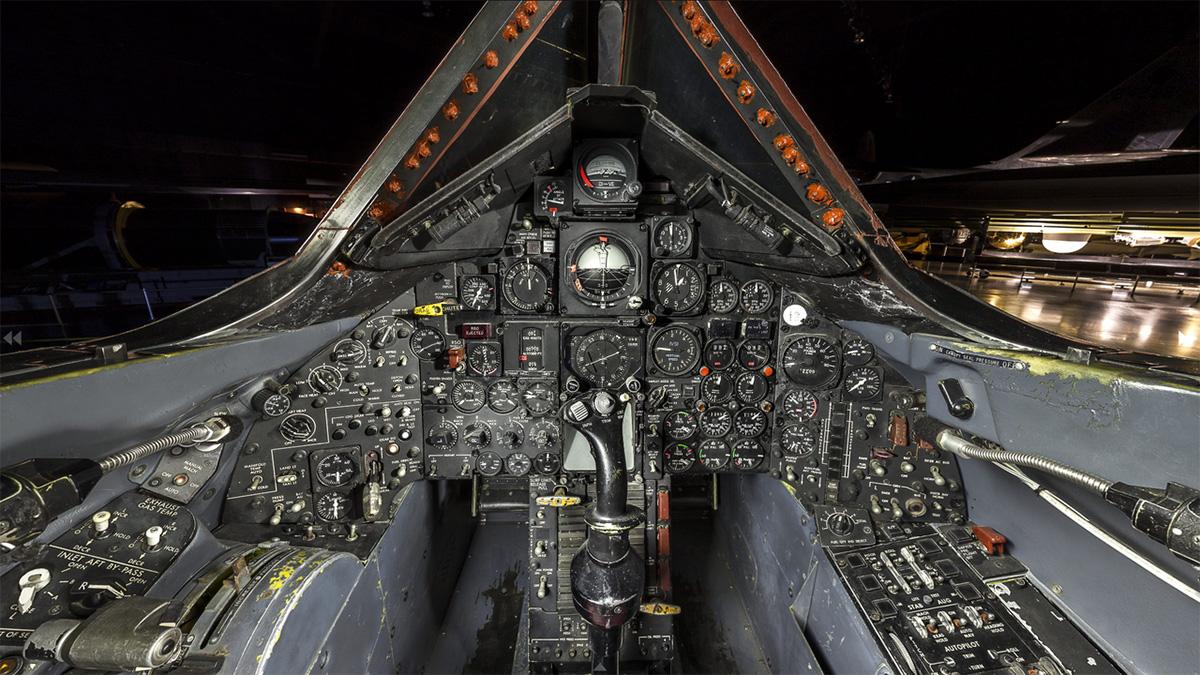 Cockpit of the SR-71.  Public domain photo courtesy of NASA.