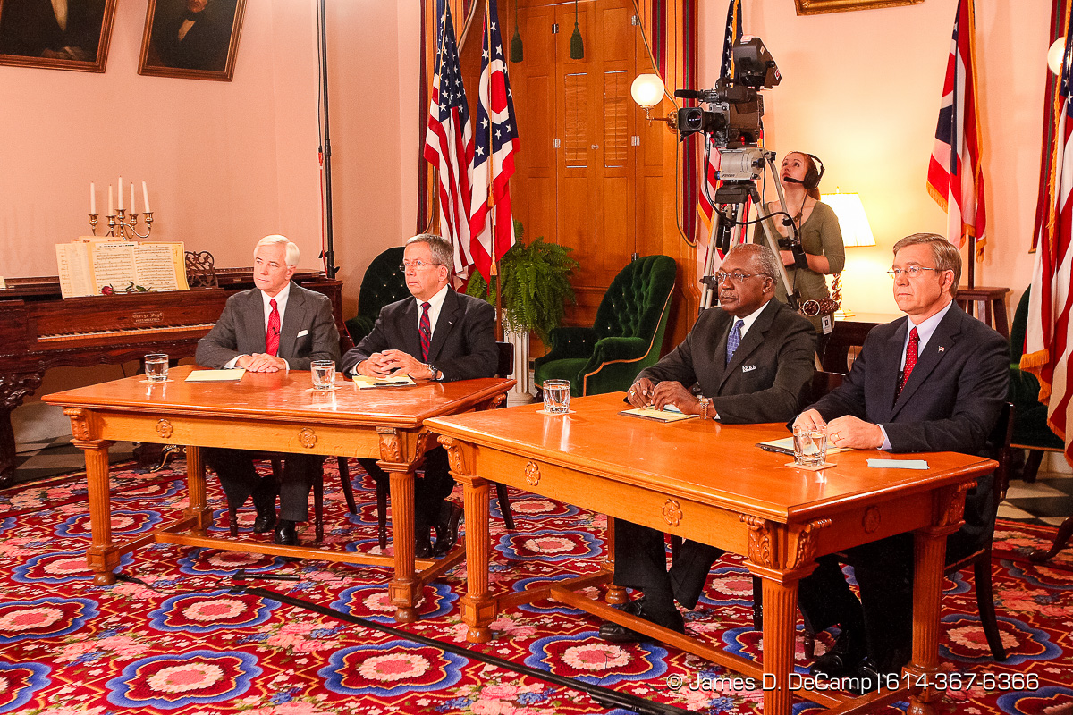 Ohio State Supreme Court Candidates Terrence O'Donnell, William O'Neill, Ben Espy, and Robert Cupp banter during a debate held in the Ohio Statehouse State Room late Wednesday afternoon October 18, 2006. (© James D. DeCamp | http://www.JamesDeCamp.com | 614-367-6366) [Photographed with Canon 1D MkII cameras in RAW mode with L series lenses]