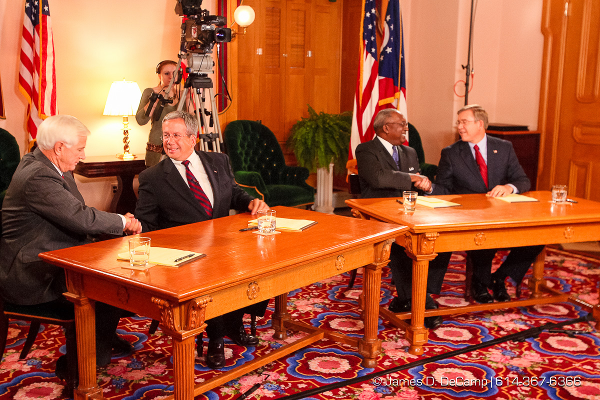 Ohio State Supreme Court Candidates Terrence O'Donnell, William O'Neill, Ben Espy, and Robert Cupp shake hands following a debate held in the Ohio Statehouse State Room late Wednesday afternoon October 18, 2006. (© James D. DeCamp | http://www.JamesDeCamp.com | 614-367-6366) [Photographed with Canon 1D MkII cameras in RAW mode with L series lenses]