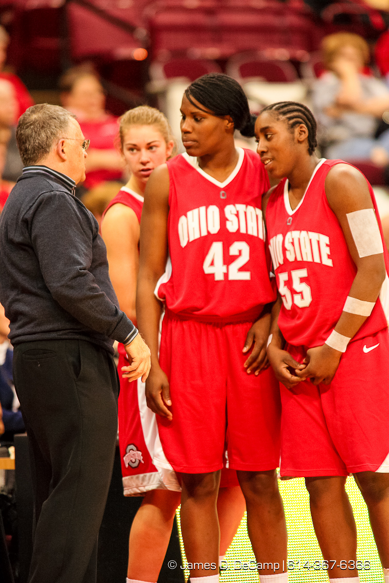 Ohio State University Buckeye's Women's Basketball Coach Jim Foster talks with several members of his team in the final moments of the second period of play against the Southern University Jaguars at the Value City Arena Monday night November 19, 2007. (© James D. DeCamp | http://www.JamesDeCamp.com | 614-367-6366) [Photographed with Canon 1D MkII cameras in RAW mode with L series lenses]