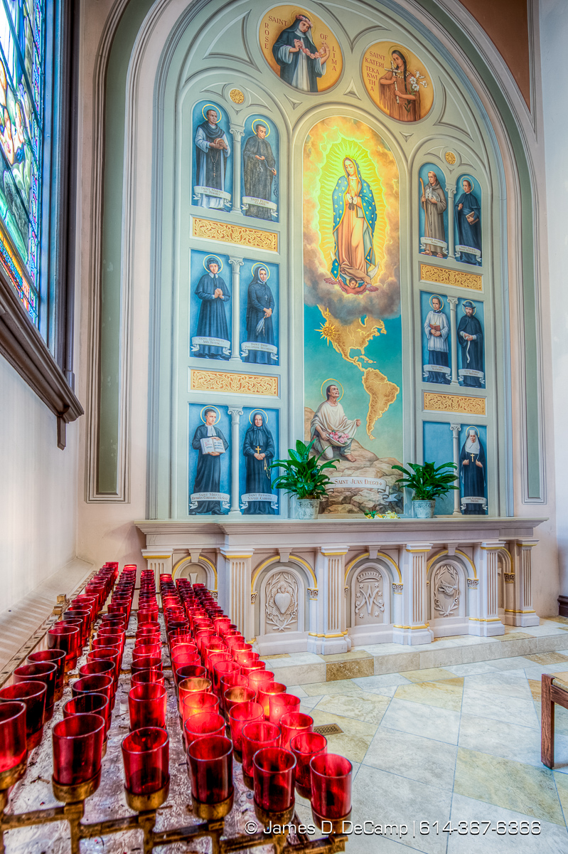 The Cathedral of the Blessed Sacrament photographed Friday, August 19, 2016 in Sacramento, California. Cathedral of the Blessed Sacrament in Sacramento is a cathedral of the Roman Catholic Church in the United States. It is the mother church and seat of Jaime Soto, the ordinary bishop of the Diocese of Sacramento. The Cathedral is located downtown at the intersection of 11th and K Streets. Currently, the cathedral is considered both a religious and civic landmark. It is the mother church of the diocese, which stretches from the southern edge of Sacramento County north to the Oregon border and serves approximately 1,000,000 Catholics. The diocese encompasses 102 churches in a 42,000 square mile region. The Cathedral of the Blessed Sacrament is one of the largest cathedrals west of the Mississippi River. Because of its size, it has sometimes been used as the site of final funeral Masses for former Governors of California, most recently that of Pat Brown in 1996. (© James D. DeCamp | http://JamesDeCamp.com | 614-367-6366)