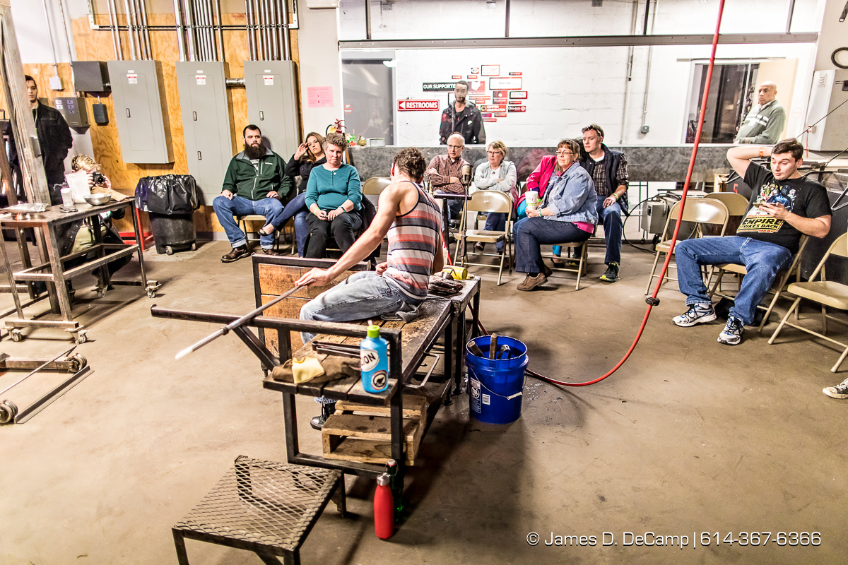 "The Glass Axis Glassierade photographed Saturday, March 4, 2017 at Glass Axis in Columbus, Ohio. The groups 30th anniversary annual fund raiser was themed ""Back to the 80's"" and featured glass blowing demonstrations, a raffle of goodies, the Melty Crue food truck, custom drinks from Karate Cowboy and The Reaganomics playing live. (© James D. DeCamp 