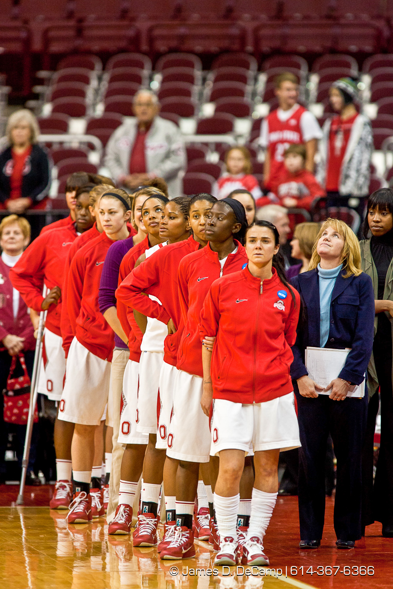 Ohio State University's Women's Basketball Team lined up for the National Anthem before the first period of play at the Value City Arena at The Jerome Schottenstein Center in Columbus, Ohio Tuesday evening December 14, 2010. The Buckeyes defeated the Lady Spartans 87-55 in the two teams first ever pairing. (© James D. DeCamp | http://www.JamesDeCamp.com | 614-367-6366) [Originally photographed for SouthCreek Global Media which went out of business in 2012. All sales requests should be directed to ZumaPress.com.]