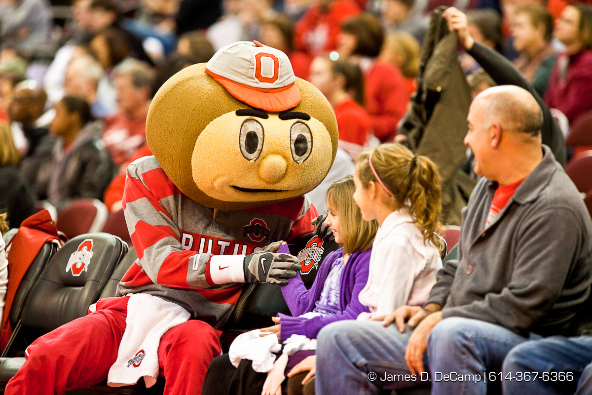 Ohio State University's Mascot Brutus Buckeye in the second period of play at the Value City Arena at The Jerome Schottenstein Center in Columbus, Ohio Tuesday evening December 14, 2010. The Buckeyes defeated the Lady Spartans 87-55 in the two teams first ever pairing. (© James D. DeCamp | http://www.JamesDeCamp.com | 614-367-6366) [Originally photographed for SouthCreek Global Media which went out of business in 2012. All sales requests should be directed to ZumaPress.com.]