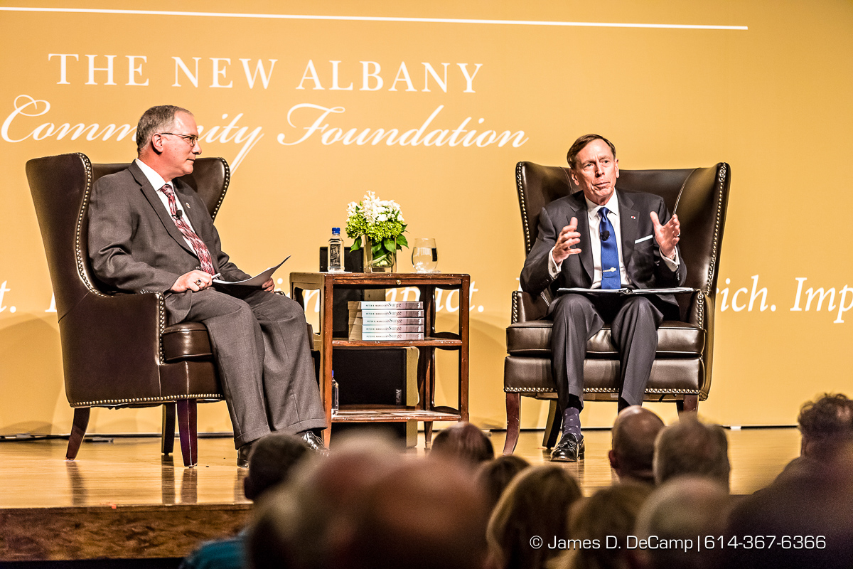 General David Petraeus (ret.) photographed Wednesday, April 26, 2017 at the Jeanne B. McCoy Community Center for the Arts as part of 'The Jefferson Series' presented by The New Albany Community Foundation. David Howell Petraeus is a retired American military officer and public official. He served as Director of the Central Intelligence Agency from September 6, 2011, until his resignation on November 9, 2012. Prior to his assuming the directorship of the CIA, Petraeus was a highly decorated four-star general, serving over 37 years in the United States Army. His last assignments in the Army were as commander of the International Security Assistance Force (ISAF) and Commander, U.S. Forces Afghanistan (USFOR-A) from July 4, 2010, to July 18, 2011. His other four-star assignments include serving as the 10th Commander, U.S. Central Command (USCENTCOM) from October 13, 2008, to June 30, 2010, and as Commanding General, Multi-National Force – Iraq (MNF-I) from February 10, 2007, to September 16, 2008. As commander of MNF-I, Petraeus oversaw all coalition forces in Iraq. Petraeus has a B.S. degree from the United States Military Academy, from which he graduated in 1974 as a distinguished cadet (top 5% of his class). Petraeus was hired by the New York investment firm Kohlberg Kravis Roberts & Co. L.P. as chairman of the firm's newly created KKR Global Institute in May 2013. Petraeus supports its investment teams and portfolio companies when studying new investments, especially in new locations and in December 2014, Petraeus was named a partner at KKR and remains Chairman of the KKR Global Institute. The New Albany Community Foundation established the Jefferson Series, inspired by Thomas Jefferson's appreciation for lifelong learning and encouraged by the success of its Remarkable Evening lectures, a collection of stimulating forums featuring some of the world's most compelling and esteemed thinkers of our time. (© James D. DeCamp | http://JamesDeCamp.com | 614-367-636