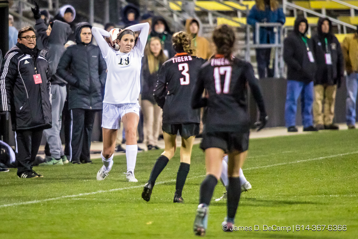 The 2017 OHSAA Girls Division I Soccer Final championship game between the Loveland Tigers and the Perrysburg Yellow Jackets photographed Friday, November 10, 2017 at Mapfre Stadium in Columbus, Ohio. The Loveland Tigers won the match 1-0. (© James D. DeCamp | http://JamesDeCamp.com | 614-367-6366)