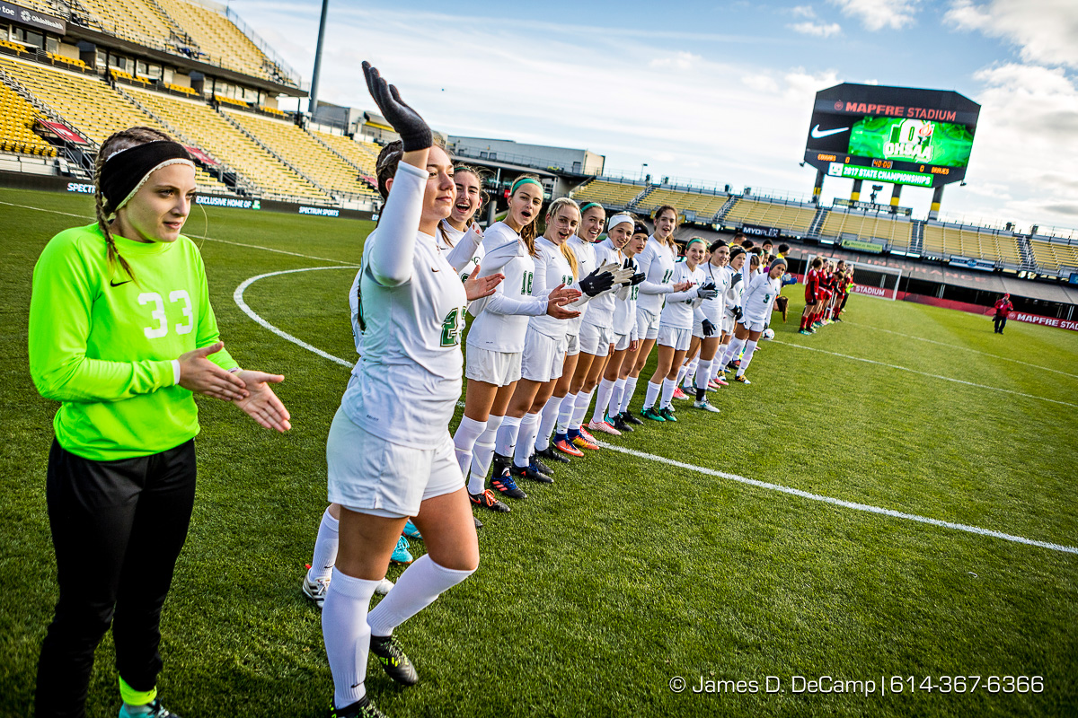 The 2017 OHSAA Girls Division II Soccer Final championship game between the Indian Hill Braves and the Lake Catholic Cougars photographed Friday, November 10, 2017 at Mapfre Stadium in Columbus, Ohio. (© James D. DeCamp | http://JamesDeCamp.com | 614-367-6366)
