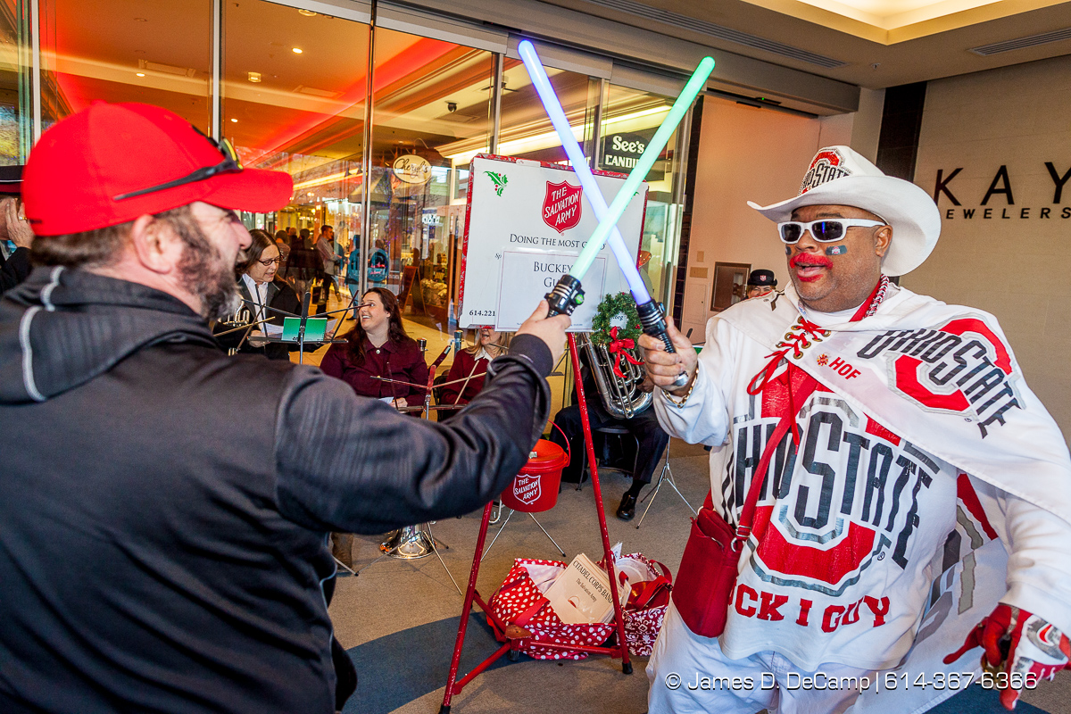 The Buckeye Guy manning the Salvation Army station at the Easton Town Center photographed Saturday, December 16, 2017. (© James D. DeCamp | http://JamesDeCamp.com | 614-367-6366)
