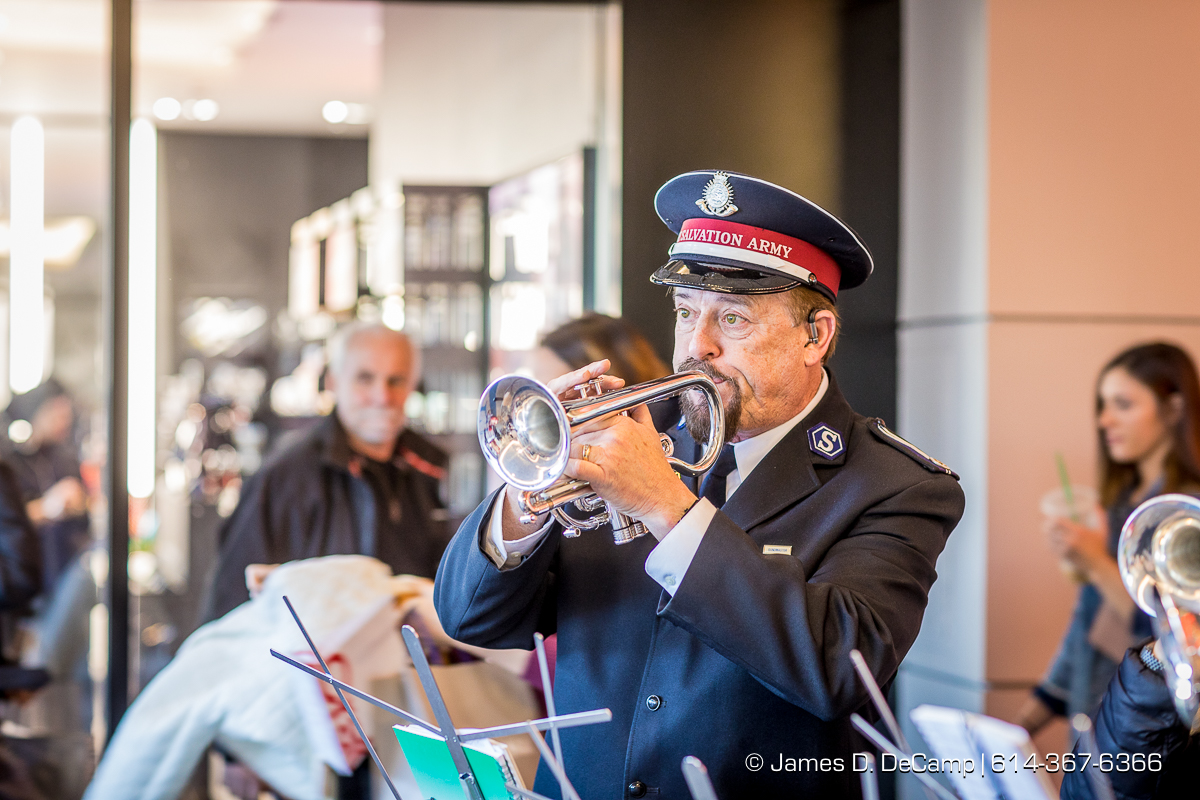 Citadel Corp Band Quartet manning the Salvation Army station at the Easton Town Center photographed Saturday, December 16, 2017. (© James D. DeCamp | http://JamesDeCamp.com | 614-367-6366)