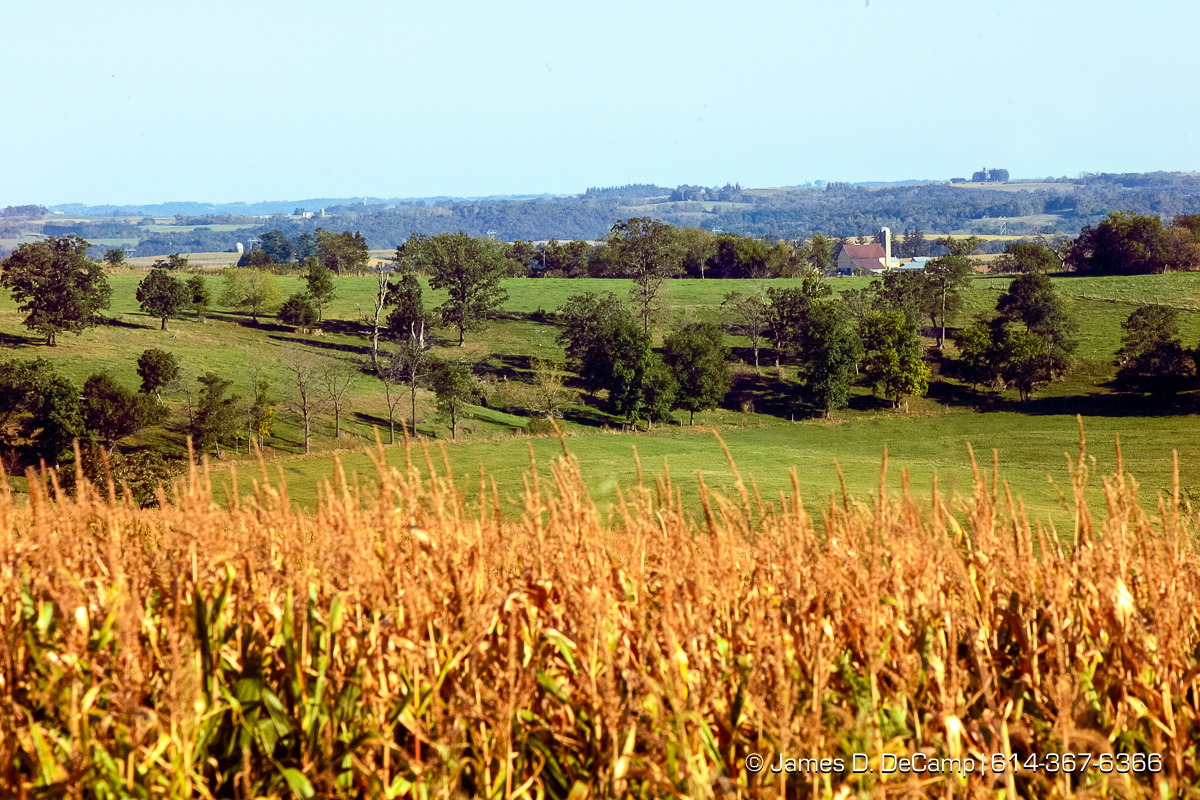A scenic view from along State Route 9 outside of Waukon Iowa photographed September 25, 2004 on Day 2 of the 2004 'Real People Tour' of middle America. (© James D. DeCamp | http://www.JamesDeCamp.com | 614-367-6366) [Photographed with Canon 1D MkII cameras in RAW mode with L series lenses]