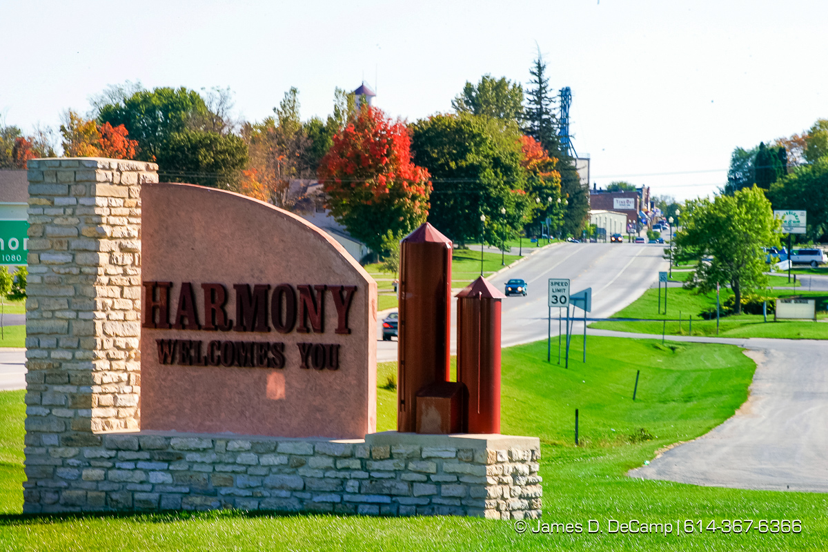 The northern entrance to Harmony Minnesota photographed Sunday September 26, 2004 on day 3 of the 2004 'Real People Tour' of middle America. (© James D. DeCamp | http://www.JamesDeCamp.com | 614-367-6366) [Photographed with Canon 1D MkII cameras in RAW mode with L series lenses]