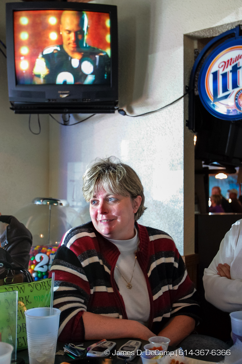 Susan Jefferys talks with us at Scorchers Casual Eatery & Draft House in Erie, PA Sunday October 3, 2004 on day 10 of the 2004 'Real People Tour' of middle America. (© James D. DeCamp | http://www.JamesDeCamp.com | 614-367-6366) [Photographed with Canon 1D MkII cameras in RAW mode with L series lenses]