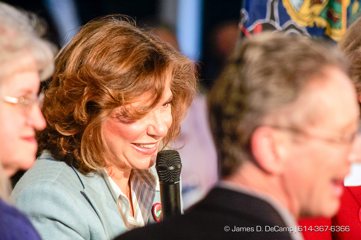 Teresa Heinz Kerry talks at a political rally at the Teamster Temple (Local 249) in Pittsburgh, PA Monday, October 4, 2004 on day 11 of the 2004 'Real People Tour' of middle America. (© James D. DeCamp | http://www.JamesDeCamp.com | 614-367-6366) [Photographed with Canon 1D MkII cameras in RAW mode with L series lenses]