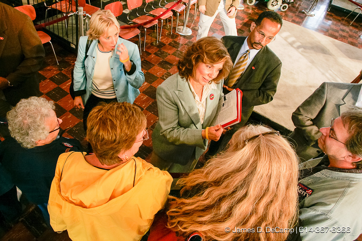 Teresa Heinz Kerry talks with fans after she talked at a political rally at the Teamster Temple (Local 249) in Pittsburgh, PA Monday, October 4, 2004 on day 11 of the 2004 'Real People Tour' of middle America. (© James D. DeCamp | http://www.JamesDeCamp.com | 614-367-6366) [Photographed with Canon 1D MkII cameras in RAW mode with L series lenses]