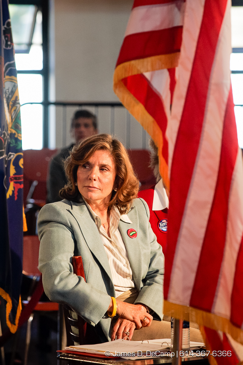 Teresa Heinz Kerry listens to a supporter talk at a political rally at the Teamster Temple (Local 249) in Pittsburgh, PA Monday, October 4, 2004 on day 11 of the 2004 'Real People Tour' of middle America. (© James D. DeCamp | http://www.JamesDeCamp.com | 614-367-6366) [Photographed with Canon 1D MkII cameras in RAW mode with L series lenses]